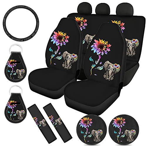 WELLFLYHOM Elephant Sunflower Car Seat Covers for Women Full Set with Steering Wheel Cover, Seat Belt Cover, Cup Coasters, Key Chains Universal Fit SUV Truck Sedan Cute Decorative Accessories Interior