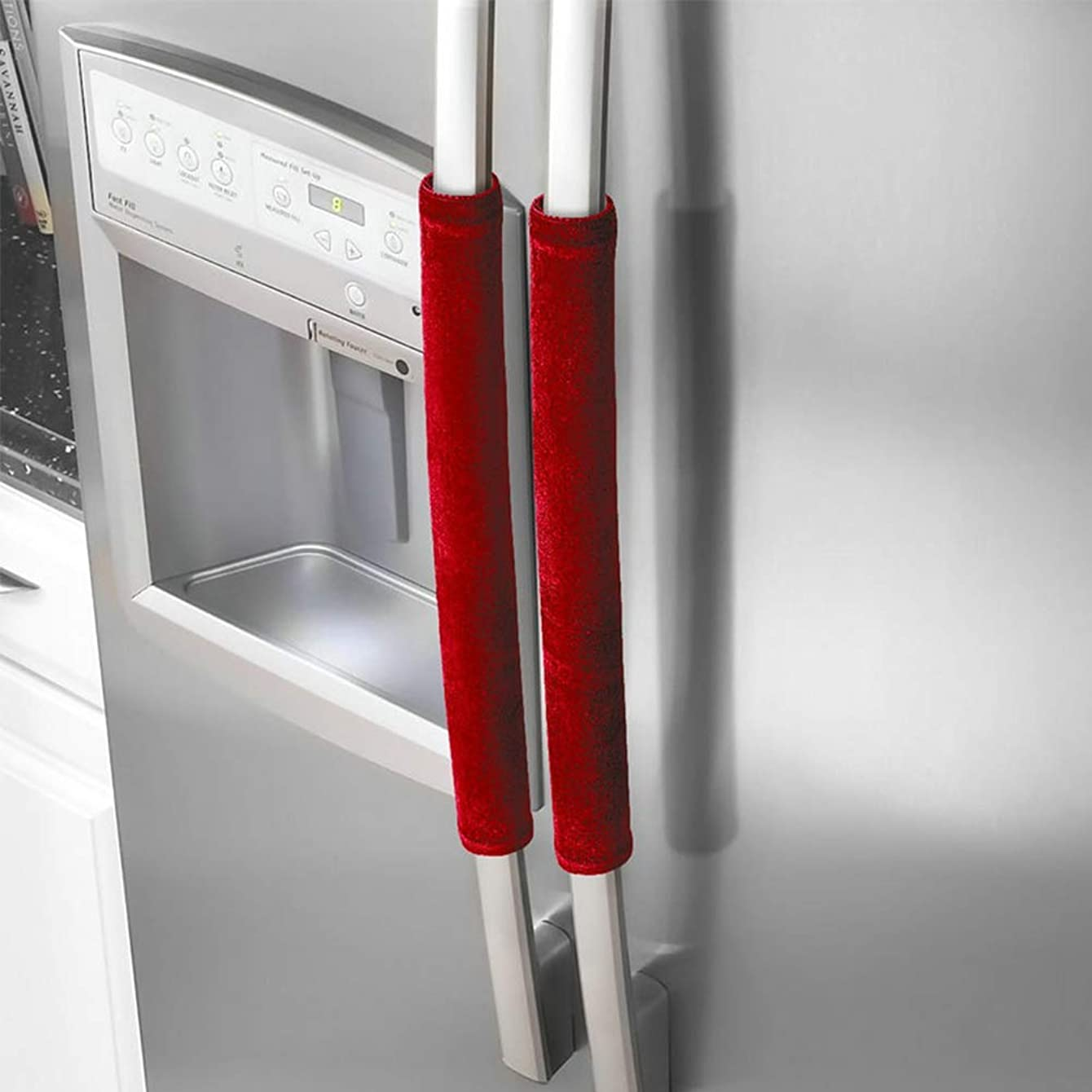 Refrigerator Door Handle Covers,1 Pair Oven Handle Cover Refrigerator Door Handle Covers Dishwasher Protector in Kitchen,Keep Your Kitchen Clean from Fingertips,Drips,Food Stains(Red)