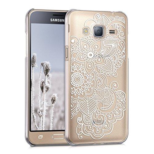 kwmobile Cover Compatibile con Samsung Galaxy J3 (2016) DUOS - Custodia Rigida Trasparente per Cellulare - Back Case Cristallo in plastica - Etnico Bianco/Trasparente