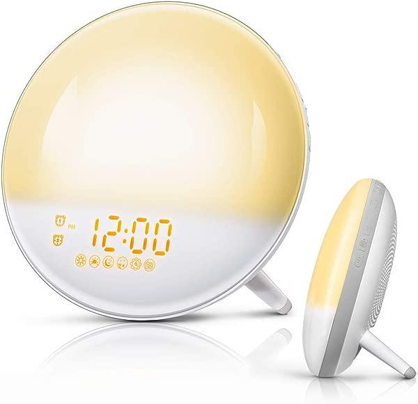 FimiTech 唤醒灯闹钟 7 彩色日出模拟和日落褪色双闹钟 7 自然声音和调频收音机儿童成人卧室