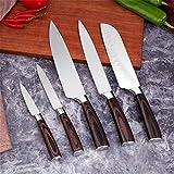 Cuchillo de cocina de 5 piezas Cuchillo de chef profesional 7CR17 Carne de acero inoxidable de alto carbono Santoku Cuchillo de pelado Cuchillo multifunción (Color : 5pcs Each Set)