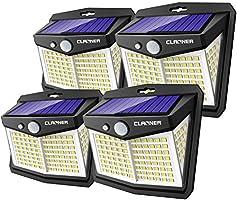 Claoner Solarlampen für Außen mit Bewegungsmelder,【4 Stück 128 LED】Solarleuchte für Außen Aussen 3 Modi IP65 Wasserdichte...