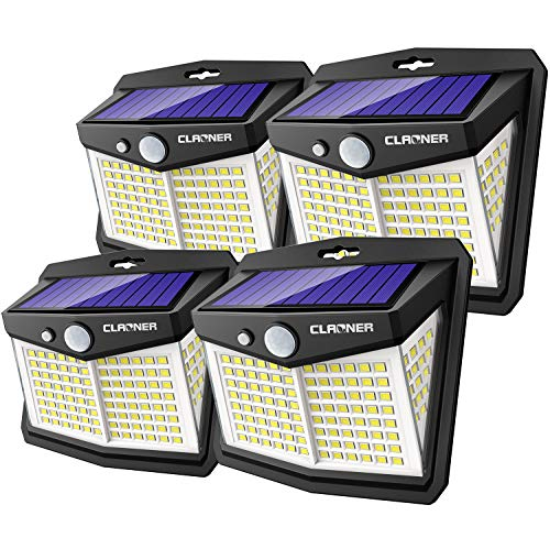 Claoner Eclairage Exterieur Solaire Puissant, 4 Pack 128 LED Lumière Solaire Lamps Solaire Extérieur IP65 Etanche Lampe Solaire avec Détecteur de Mouvement Eclairage Solaire sans Fil pour Jardin