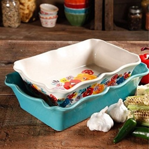 The Pioneer Woman Flea Market 2-Piece Decorated Rectangular Ruffle Top Ceramic Bakeware Set (Pack of...