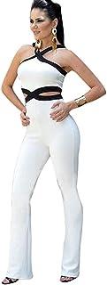 Aro Lora Women's Sexy V Neck Sleeveless Backless Long Wide Leg Pant Jumpsuit Romper