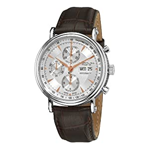 Stuhrling Prestige Men's 363.331K29 Prestige Swiss Made Automatic Valjoux 7750 Paradigm Chronograph Rose Tone Watch image
