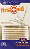 U.S. Cotton First Aid or Baby 100% Cotton Swabs, Wood Stick, 125 Count Boxes (Pack of 6 Boxes)