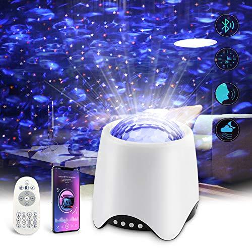 Ocean Wave Projektor Nachtlicht,Petrichor Magical Projektor mit Fernbedienung Bluetooth zeitliche Koordinierung Musikspieler Stimmenkontrolle USB Fernbedienung für Schlafzimmer Party Dekoration