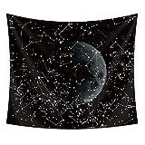 Lumpur Tapiz Decoración Pared Arte Digital Playa Bohemia Impresión Colgante Pared Colgante Puesta Sol Luna Constelaciones(130 150)
