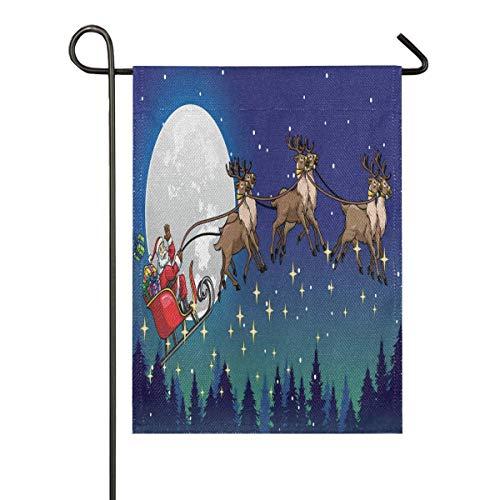 lovely baby-Z Santa Ride Schlitten gezogen von His Deer Over The Night? Sackleinen-Gartenflagge, doppelseitig, für Haus, Hof, Urlaub, saisonale Outdoor-Dekoration, 30 x 45 cm