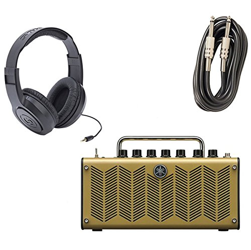 Yamaha THR5A Desktop Modeling Acoustic Guitar Amp with Samson SR350 Headphones and AxcessAbles I-010 Guitar Instrument Cables - 10 Feet