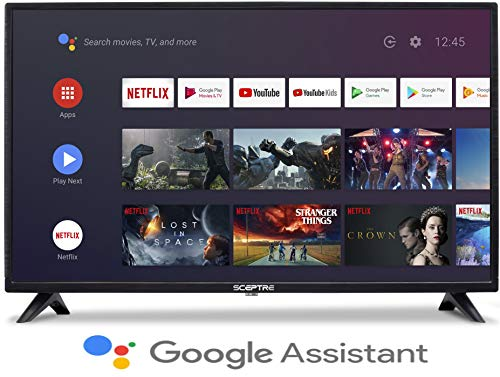 Sceptre Android TV A322BV-SRC 32-inch Smart LED HD TV Google Assistant Chromecast Bluetooth Remote, Machine Black 2020