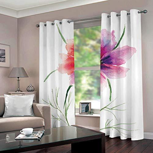 SUZIHUA Verdunkelungsvorhang 3D Eine Blume Massiver Vorhang Isolierung Fensterdekoration Öse Wohnzimmer...
