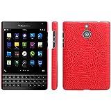 BlackBerry Passport Silver Edition Hülle, HualuBro [Ultra Slim] Premium Leichtes PU Leder Leather Handy Tasche Schutzhülle Case Cover für BlackBerry Passport Silver Edition Smartphone (Rot)