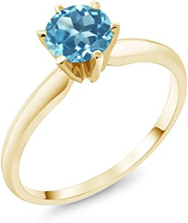Gem Stone King 14K Yellow Gold Swiss Blue Topaz Women's Engagement Solitaire Ring (0.90 Cttw, Available in size 5, 6, 7, 8, 9)