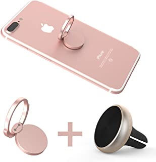 Magnetic Phone Car Mount and Finger Ring Rose Gold, 360° Rotation Phone Finger Ring Stand Compatible with iPhone XR 8 7 7 Plus 6S 6 5 5S, Samsung Galaxy S8/S9, LG and More (Rose Gold