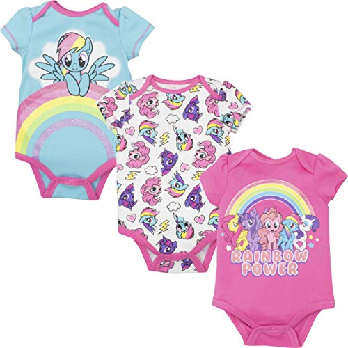My Little Pony Rainbow Dash Baby Girls' 3-Pack Glitter Bodysuits, Multi 18 Months