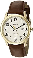 Adjustable brown 20 millimetre genuine leather strap fits up to 8-inch wrist circumference Cream easy-to-read dial with date window at 3 o'clock; Full Arabic numerals Gold-tone 38 millimeter brass case with mineral glass crystal Indiglo light-up watc...