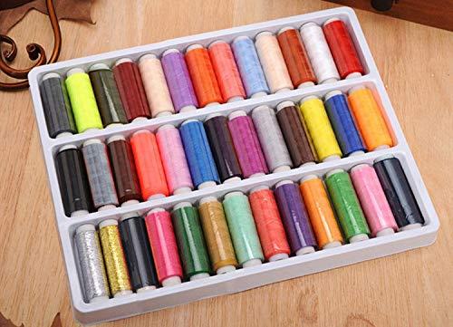 Frmarche - Hilos de Coser, una Caja de 39 Colores, Hilo de máquina de Coser de poliéster...