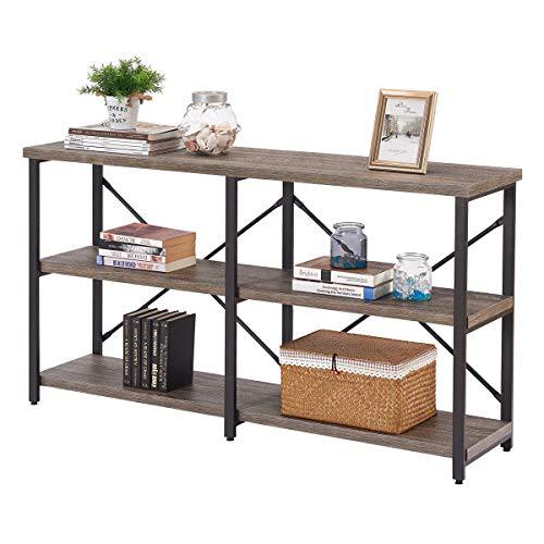 BON AUGURERustic Console Table Behind Sofa, IndustrialEntrywayTablewith Storage Shelves, 3 Tier Long Bookshelves for Entry (55 Inch, Dark Gray Oak)