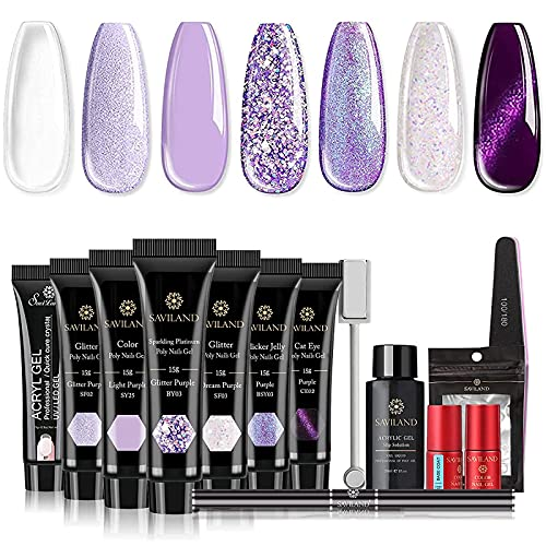 Saviland Poly Nails Gel Kit - Glitter and Cat Eye Poly Purple Nail Extension Gel 7 Colors Builder Nail Gel with Slip Solution for Starter and Professional