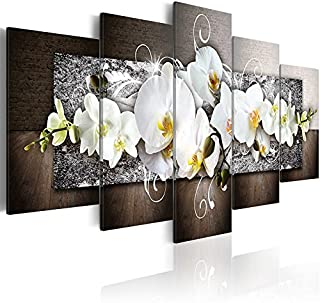 5 Panels Large Size Flowers Canvas Painting Print Wall Art Modern Vivid White Orchid Blossoming Floral Picture for Living Room Decoration