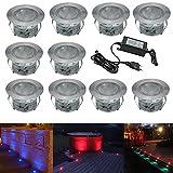 Terrassen Einbaustrahler - 10er Set Boden Einbauleuchten Außen RGB LED Treppen Beleuchtung Ø45mm Bodeneinbaustrahler IP67 Wasserdicht Farbwechsel Boden Lampe