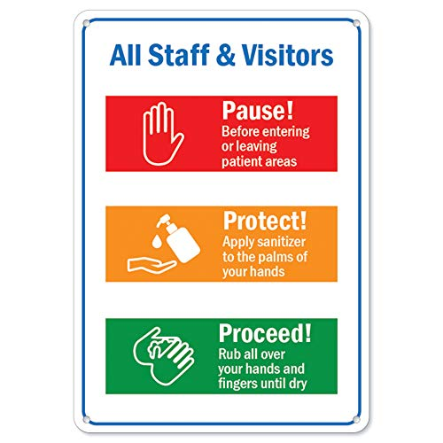 SignMission Coronavirus (COVID-19) - All Staff & Visitors | Plastic Sign | Protect Your Business, Municipality, Home & Colleagues | Made in The USA, 10' X 7' Rigid Plastic