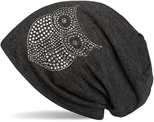 styleBREAKER Klassische Beanie Mütze mit Strass Eulen Applikation, Damen 04024039, Farbe:Anthrazit meliert