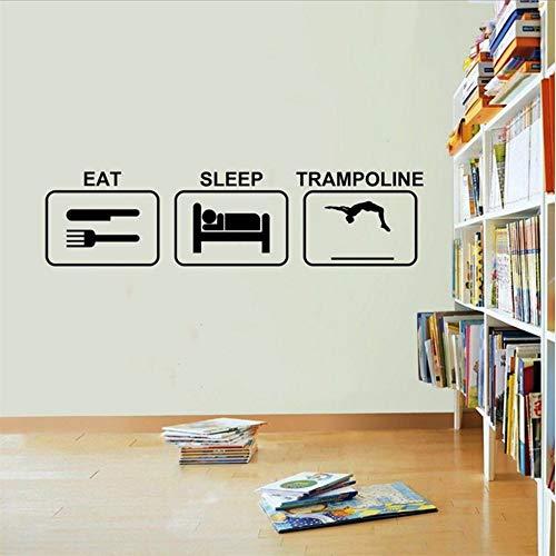 Waofe Essen Schlaf Trampolin Wandaufkleber Vinyl Trampolin Abnehmbare Wohnzimmer Cartoon Kunst Kindergarten Kinderzimmer Wandaufkleber 58 * 15 Cm