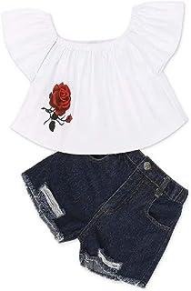 Hooyi - Juego de ropa de verano para niños y niñas con hombros descubiertos, camiseta con estampado de rosas, pantalones v...