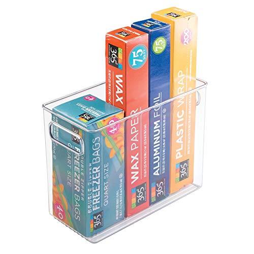 mDesign Organizador de frigorífico estrecho con asas – Prácticas cajas organizadoras para almacenar alimentos – Contenedor de...