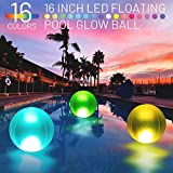 Eyewalk Pool Toys 16' Glow in Dark LED Beach Ball Toy, 16 Color Changing Floating Pool Lights, Outdoor Pool Beach Glow Party Games and Decorations (1PC)