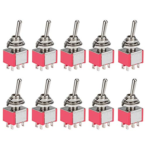 DIYhz Toggle Switch AC 5A/125V 3A/250V 6 Pin Terminals On/Off/On 3 Position DPDT Toggle Switch Mini Miniature Toggle Switch Car Dash Dashboard,10Pcs