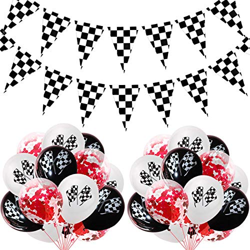 GSDJU happy birthday banner,bunting,decoration,party,wreath,reusable,15pcs Black White Racing Flag Latex Balloons Checkered Race Car Themed Party Confetti Balloons Kid Happy Birthday Banner Supplie