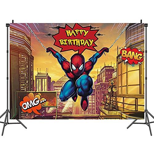 Héros De La Ville Spiderman Thème Photographie Fond Tissu Garçon Fille Douche Fête d'anniversaire Décoration Fournitures Affiche Décoration Arrière-Plan Accessoires Vinyle Tissu 5 × 7 Ft