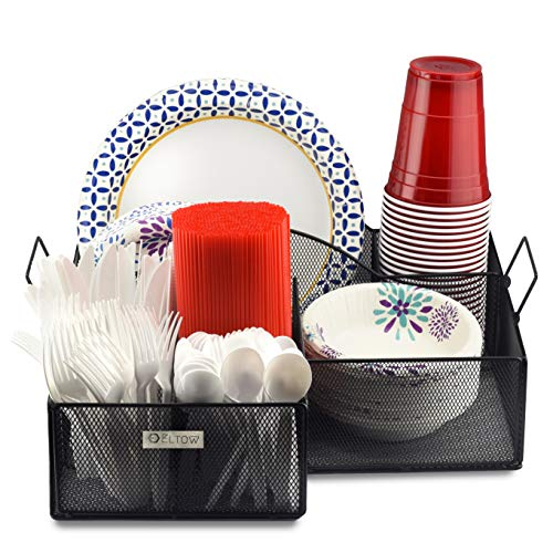Eltow Black Plate and Cutlery Organizer with Handles: Large Kitchen Spoon, Fork, Knives and Cups Holder - Sturdy Bowl, Napkin and Tableware Dispenser - Home, Restaurant, BBQ and Picnic Organizer Caddy