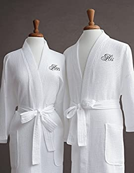 Luxor Linens  His and Hers Waffle Weave Robe  2 PCS  for Wedding Anniversary and Birthdays -His/Hers & Signature Gift Packaging