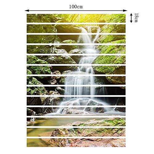 J.DT 3D Natürliche Landschaft Treppen Aufkleber Selbstklebende Treppe Fliesen Risers Wandbild Vinyl Aufkleber Tapete Aufkleber Dekor Abziehbilder (Farbe : B, größe : 13pcs)