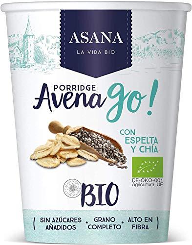 Porridge Ecológico de Avena con Espelta y Chía. Sin Azúcar Añadido. Granos Enteros de Avena y Espelta. Preparación Instantánea. Pack de 8 Unidades de 55 g