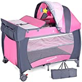 Hadwin Travel Cot Baby Crib with Mattress and Toys, Portable&Foldable Infant Girls Playpen Entryway with Mosquito Net and Carry Bag,Pink