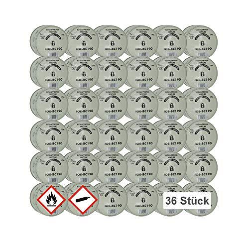 IOE 36x 190g Butan-Gas-Kartusche Stechkartusche für Gaskocher Lötlampe Campingkocher Lötbrenner Campinglampe Bunsenbrenner Shisha-Kohlenanzünder mit Gas-Stop-System