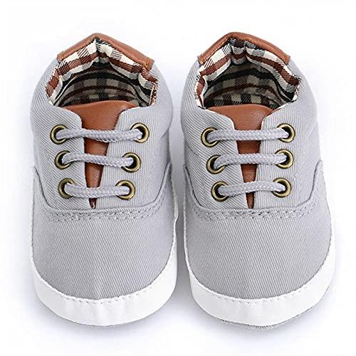 KGDC Newborn Baby Girl Boys Anti-Slip Zapatos Plaid Patchwork Soft Sole Sneakers Prewalker por 0-18 Meses (Baby Age : 13-18 Months, Color : Gray)