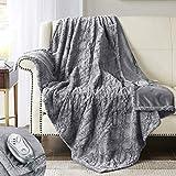 Hyde Lane Faux Fur Electric Throw | Premium Grey 50x60 Soft Electric Blanket | Fuzzy, Pilling Resistant Heating Throw | 3 Heat Settings | Auto-Shutoff | Machine Washable