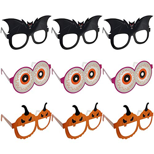 Amoco 9pcs Halloween Glasses Novelty Funny Glasses Pumpkin Bat Eyeball Glasses for Halloween Costume Party Favors,Party Decoration Supplies.