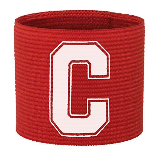55 Sport Brazalete de Capitán de Fútbol Adultos y Junior, Color Rojo, tamaño Adulto