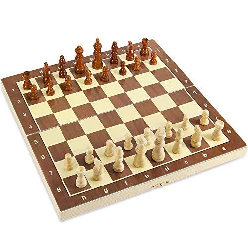 Hicarer Magnetisches Holz-Schach-Set, tragbar, faltbar, Brettspiel-Sets mit handgefertigten Filzschachfiguren, Lernspielzeug für Erwachsene und Jugendliche