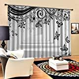 3D Printed Blackout Curtainsdigital Printing Design Distinctive Vertical Curtains, Black And White Butterfly Printing Simple Stylish Eyelet Curtains Breathable Insulation,For Living Room Bedroom Kid