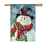 GOAUS Merry Christmas Garden Flag,Cheer Snowman Xmas Stocking,Double Sided Burlap Decorative House Flags for Home Lawn Yard Indoor Outdoor Decor,12 x 18 Inch
