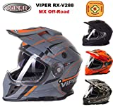 CASCHI Motocross Viper V288 Adulto Casco Moto Integrale off-Road Quad Cross Doppia Visiera Enduro Helmets (Matt Ventura,XS)